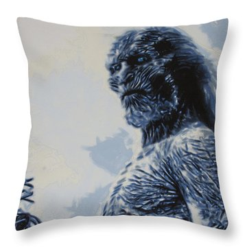 Throw Pillow featuring the painting White Walker by Luis Ludzska