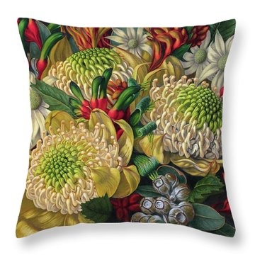 White Waratahs Flannel Flowers And Kangaroo Paws Throw Pillow