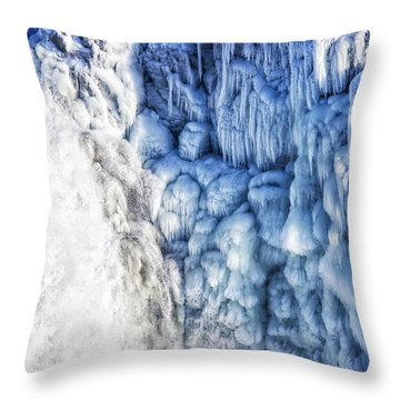 Throw Pillow featuring the photograph White Water And Blue Ice Gullfoss Waterfall Iceland by Matthias Hauser
