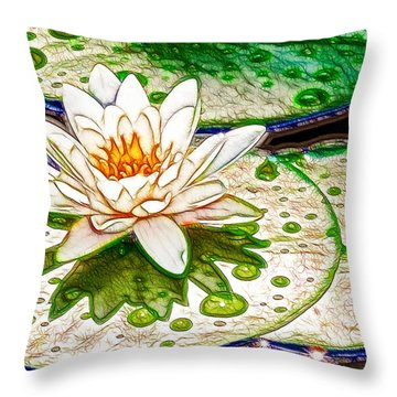 White Water Lilies Flower Throw Pillow by Lanjee Chee