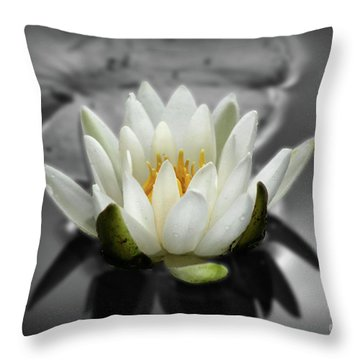 White Water Lily Black And White Throw Pillow