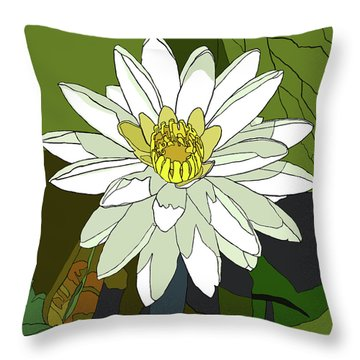 White Water Lily Throw Pillow by Jamie Downs