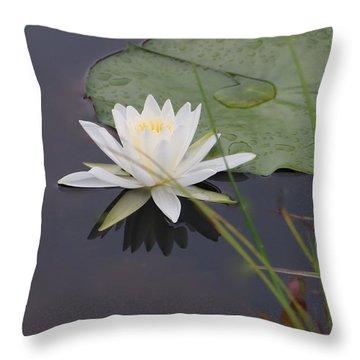 White Water Lotus Throw Pillow