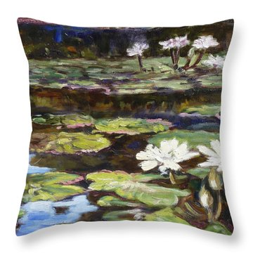 White Waterlilies In Tower Grove Park Throw Pillow