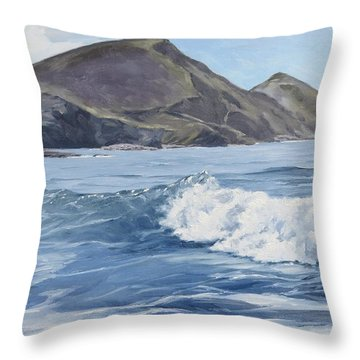 Throw Pillow featuring the painting White Wave At Crackington  by Lawrence Dyer