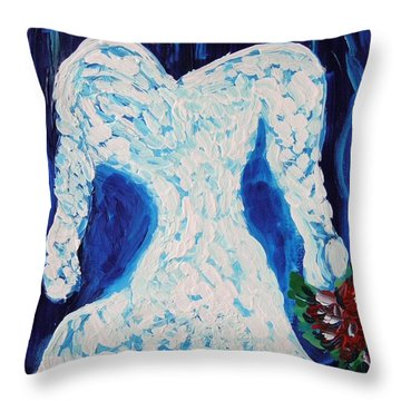 Throw Pillow featuring the painting White Wedding Dress On Blue by Mary Carol Williams