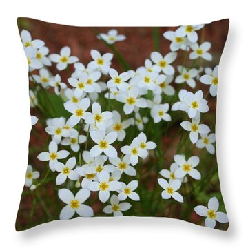 White Wildflowers Throw Pillow