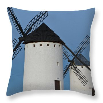 Throw Pillow featuring the photograph White Windmills by Heiko Koehrer-Wagner