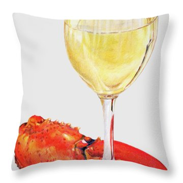 White Wine And Lobster Claw Throw Pillow
