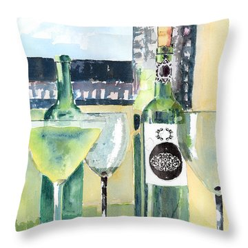 White Wine Throw Pillow by Arline Wagner