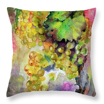 White Wine Grapes Vineyard Watercolor Painting Throw Pillow