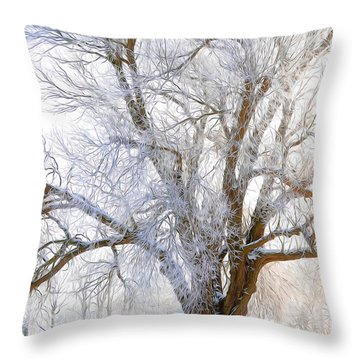 White Winter Tree Throw Pillow by Svetlana Sewell