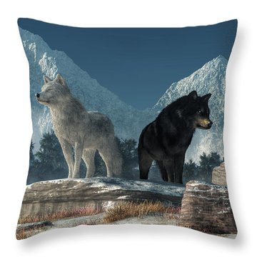 White Wolf, Black Wolf Throw Pillow by Daniel Eskridge