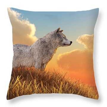 White Wolf Throw Pillow by Daniel Eskridge