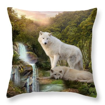 White Wolf Falls2 Throw Pillow