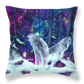 White Wolves Throw Pillow