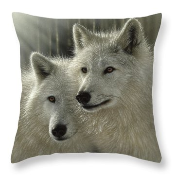 White Wolves - Sunlit Soulmates Throw Pillow