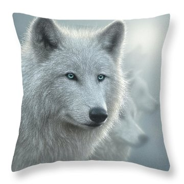 White Wolves - Whiteout Throw Pillow