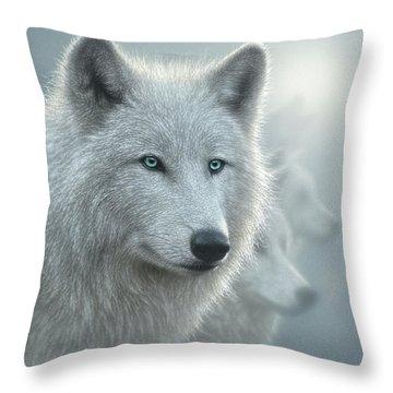 White Wolves - Whiteout Throw Pillow
