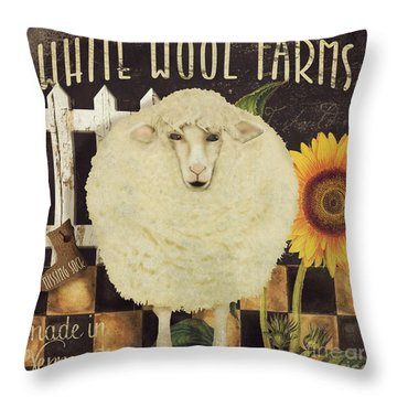 White Wool Farms Throw Pillow by Mindy Sommers
