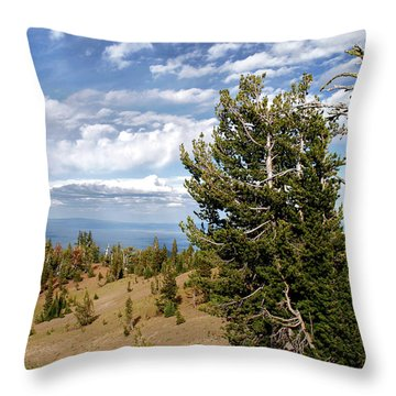 Whitebark Pine Trees Overlooking Crater Lake - Oregon Throw Pillow by Christine Till