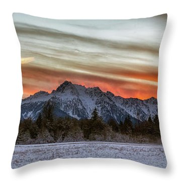 Whitehorse Sunset Panorama Throw Pillow