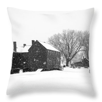 Whiteout At Strawbery Banke Throw Pillow