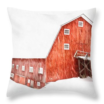 Throw Pillow featuring the painting Whiteout On The Farm Blizzard Stella by Edward Fielding