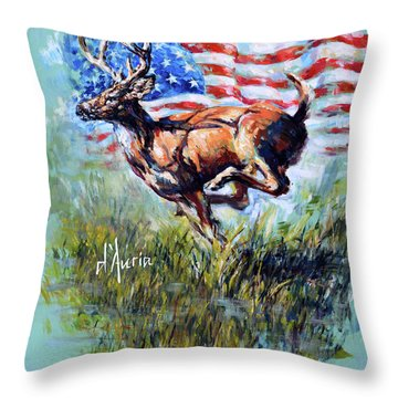 Whitetail Americana Throw Pillow