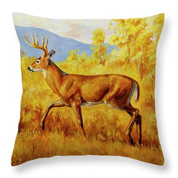 Whitetail Deer In Aspen Woods Throw Pillow