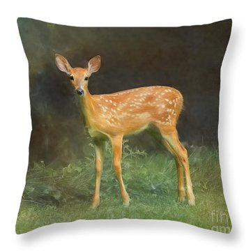 Throw Pillow featuring the photograph Whitetail Deer Spotted Fawn by Clare VanderVeen