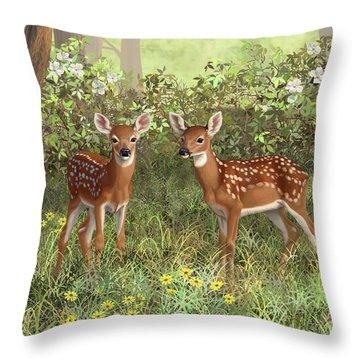 Whitetail Deer Twin Fawns Throw Pillow