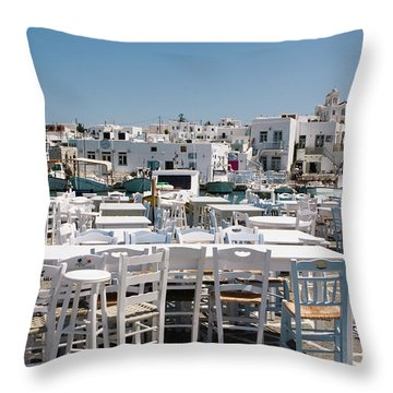 Whitewashed Naoussa Throw Pillow by Lorraine Devon Wilke
