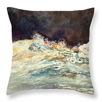 Whitewater Raftingon The Menominee Throw Pillow