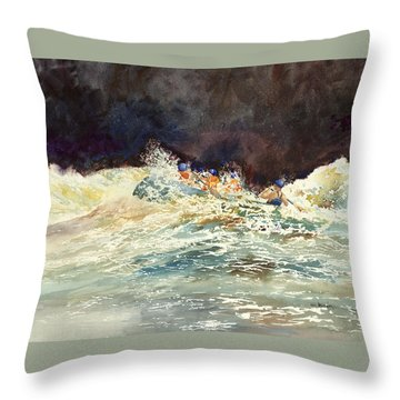 Whitewater Raftingon The Menominee Throw Pillow