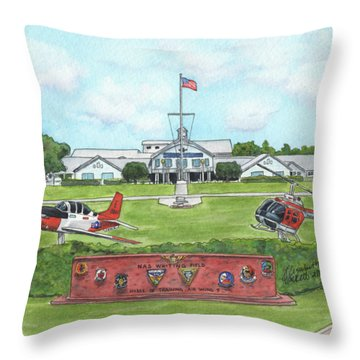 Throw Pillow featuring the painting Whiting Field Welcome Sign by Betsy Hackett