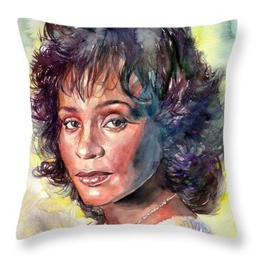 Whitney Houston Portrait Throw Pillow