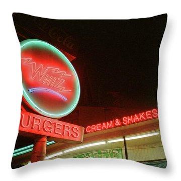 Whiz Burgers Neon, San Francisco Throw Pillow