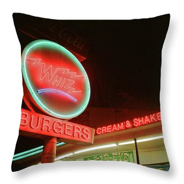 Whiz Burgers Neon, San Francisco Throw Pillow