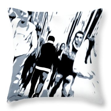 Faces In The Crowd Throw Pillows