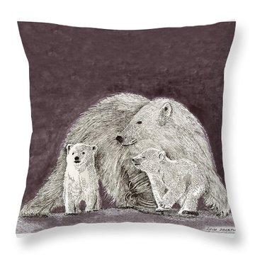Throw Pillow featuring the painting Polar Bear Family by Jack Pumphrey