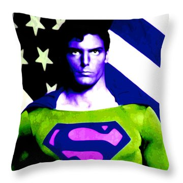 Who Is Superman Throw Pillow by Saad Hasnain