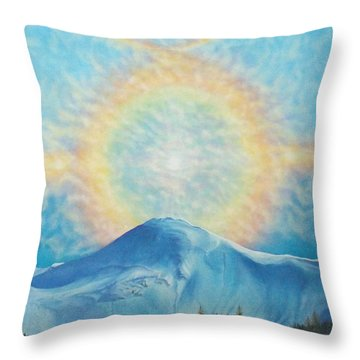 Who Makes The Clouds His Chariot Fire Rainbow Over Alberta Peak Throw Pillow