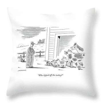 Who Tipped Off The Turkey Throw Pillow