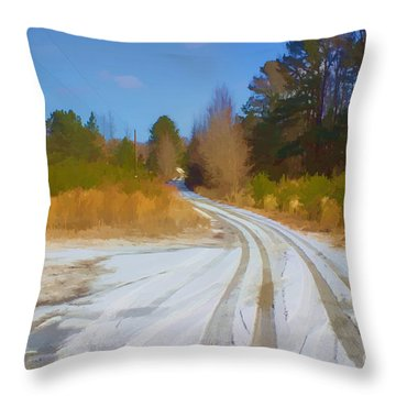 Snow Covered Lane Throw Pillow