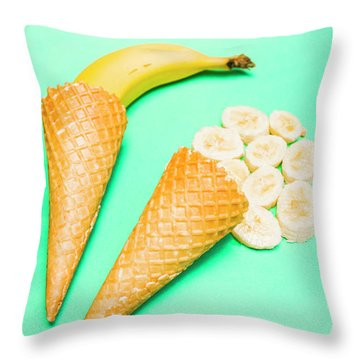 Whole Bannana And Slices Placed In Ice Cream Cone Throw Pillow