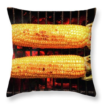 Whole Corn On Grill Throw Pillow