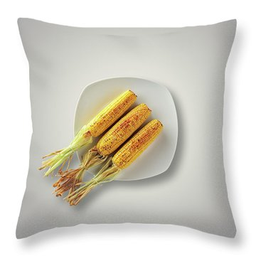 Whole Grilled Corn On A Plate Throw Pillow