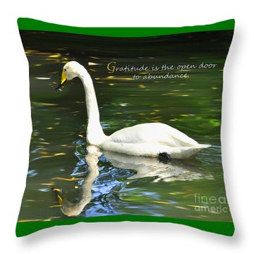 Throw Pillow featuring the painting Whooper Swan Gratitude by Diane E Berry
