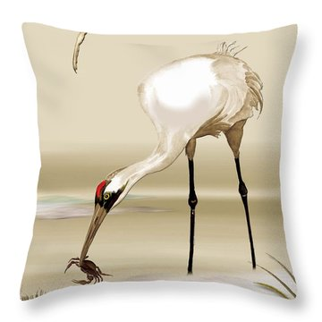 Throw Pillow featuring the painting Whooping Crane by Anne Beverley-Stamps